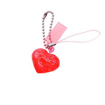 《3D 立體水晶拼圖》紅愛心迷你吊飾