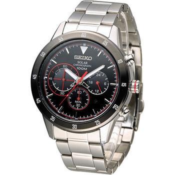 SEIKO Criteria 極速競賽太陽能計時腕錶 V175-0DA0R SSC329P1 黑x紅邊