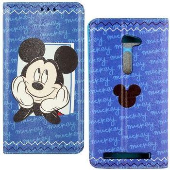【Disney】ASUS ZenFone 2 5吋 哈囉系列 隱磁側掀皮套-米奇