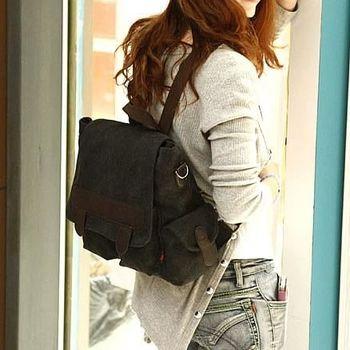 【Acorn*橡果】韓風多口袋率性兩用帆布後背包6519(黑色)