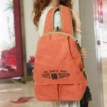【Acorn*橡果】韓風率真有型帆布後背包6514(橘色)