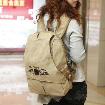 【Acorn*橡果】韓風率真有型帆布後背包6514(米色)