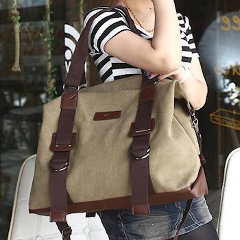 【Acorn*橡果】韓風率性休閒帆布斜背包 旅行袋6524(卡其)