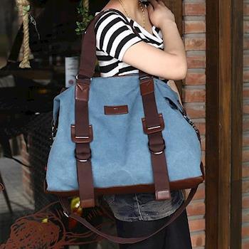 【Acorn*橡果】韓風率性休閒帆布斜背包 旅行袋6524(藍色)