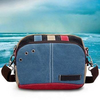 【Acorn*橡果】韓風時尚搭色帆布腰包斜背包6517(藍色)