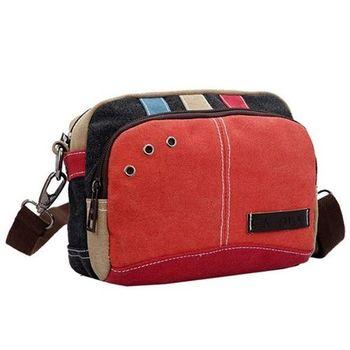 【Acorn*橡果】韓風時尚搭色帆布腰包斜背包6517(橘色)