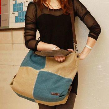 【Acorn*橡果】韓風方格拼接帆布包/側背包6516(米藍)