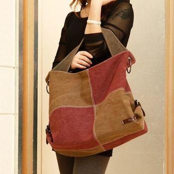 【Acorn*橡果】韓風方格拼接帆布包/側背包6516(紫棕)
