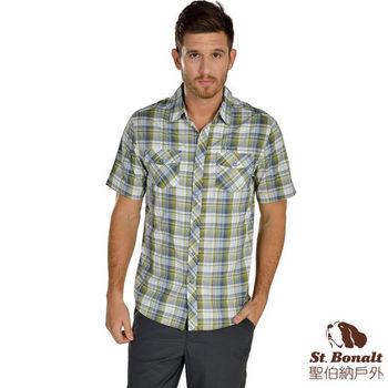 【聖伯納 St.Bonalt】男-3M吸濕排汗快乾短袖格子襯衫-綠色格子(4054)