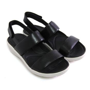 【Clarks_克拉克】經典旅行簡單寬版線條沾黏式進口全真皮休閒厚底涼鞋-黑色