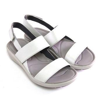 【Clarks_克拉克】經典旅行簡單寬版線條沾黏式進口全真皮休閒厚底涼鞋-淺灰色
