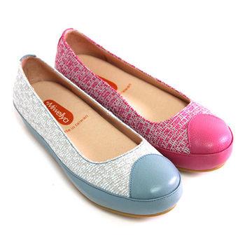 【GREEN PHOENIX】魔幻俏麗雙彩織法異材質拼接厚底休閒娃娃鞋-桃紅色、淺藍色