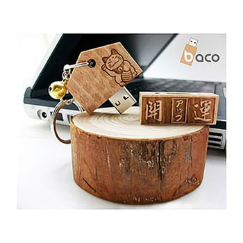【baco】木製造型隨身碟招財貓系列8G-開運御守