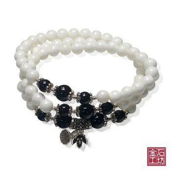 【金石工坊】天然純白硨磲石多層串珠手鍊