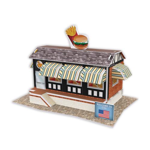 4D手作紙雕-美國-漢堡店
