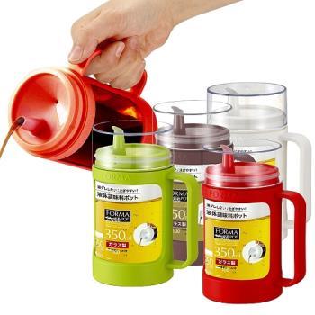 日本ASVEL油控式350ml調味油手提玻璃壺2入特惠組