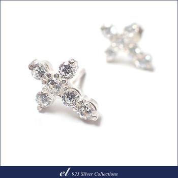 el 925銀飾 - 方晶鋯石純銀耳環 Crisscross