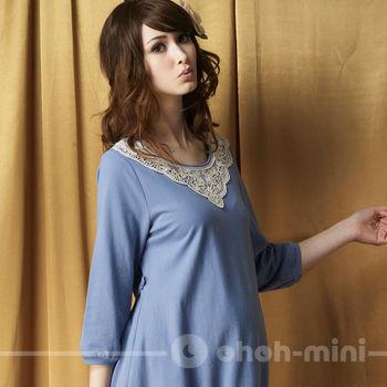 【ohoh-mini孕婦裝】拼接輕甜七分袖蛋糕裙孕婦洋裝