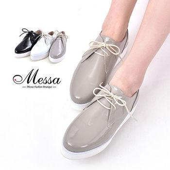 【Messa米莎專櫃女鞋】MIT 復古潮流漆皮綁帶內真皮厚底牛津鞋-三色