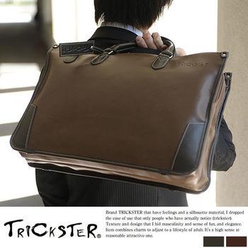 【TRICKSTER】日本製 電腦包 公事包 斜背包 B4 日本手工 復古皮革感 都會潮流【tr81】