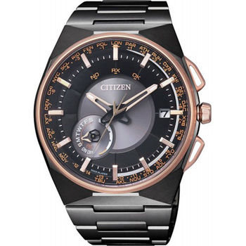 CITIZEN Eco-Drive 稱霸衛星對時系統鈦金屬優質腕錶-黑金-CC2004-59E