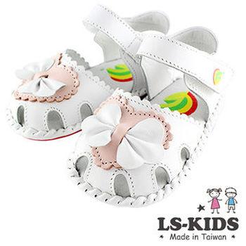 【LS-KIDS】手工精緻學步鞋-蕾絲抓皺蝴蝶結系列-優雅白