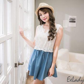 【EE-LADY】雪紡拼接牛仔縮腰背心洋裝-藍色