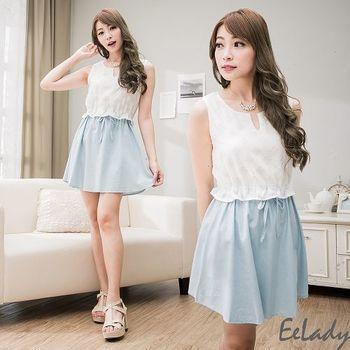 【EE-LADY】雪紡拼接牛仔縮腰背心洋裝-淺藍色