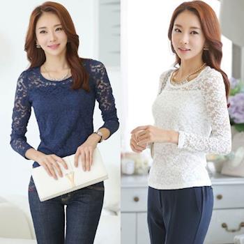 Bubble❤CoCo 韓國優雅氣質長袖蕾絲衫