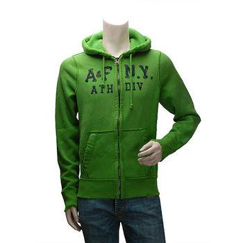 Abercrombie  Fitch 仿舊貼布內刷毛拉鍊帽T外套(男-綠-M)