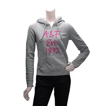 Abercrombie  Fitch 銀蔥粉色AF內刷毛長袖連帽TEE(女-灰-XS)