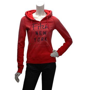 Abercrombie  Fitch 銀蔥字母內刷毛長袖連帽TEE(女-紅)