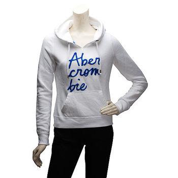 Abercrombie  Fitch 草寫字母內刷毛長袖連帽TEE(女-白)