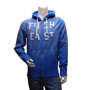 Abercrombie  Fitch 仿舊EAST內刷毛拉鍊帽T外套(男-藍-M)