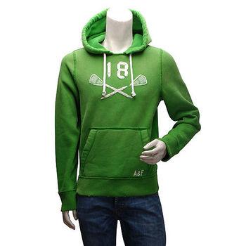 Abercrombie  Fitch 數字18內刷毛長袖連帽TEE(男-綠-M)