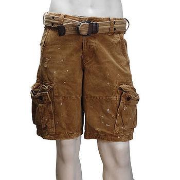 Abercrombie  Fitch 及膝CARGO附腰帶休閒短褲(男-土黃)