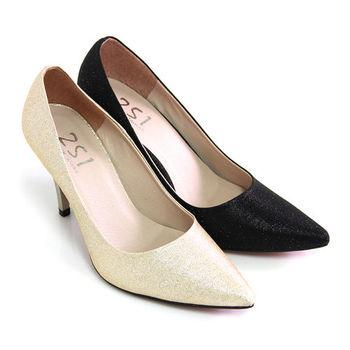 【Pretty】優雅美人閃耀金蔥尖頭高跟鞋-金色、黑色