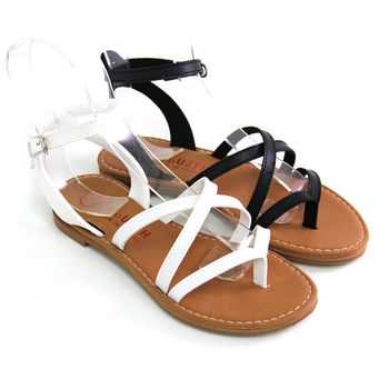 【Pretty】小清新百搭交叉編織繫踝羅馬涼鞋-黑色、白色