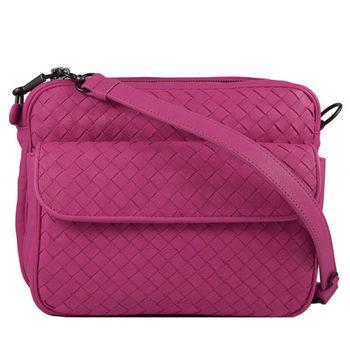 BOTTEGA VENETA 純手工編織小牛皮厚棉雙層斜背包.桃紅