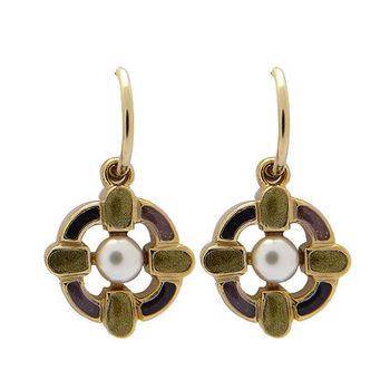 CHANEL 香奈兒 魚鉤式復古珍珠耳環(紫)