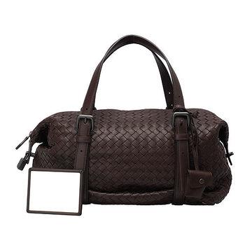 BOTTEGA VENETA 經典編織小羊皮鎖頭波士頓手提包(深咖啡色)