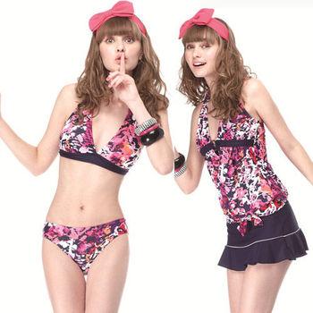 【SAIN SOU】大女比基尼四件式泳裝附泳帽加贈可諾帕短襪x1雙A94403