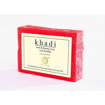 【印度Khadi】玫瑰蜂蜜手工精油絲瓜皂去角質6入特惠組
