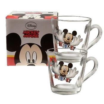 Disney經典米奇玻璃馬克杯360cc-二入組