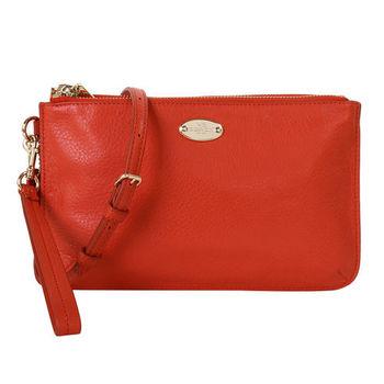 COACH  金色馬車LOGO皮革雙拉鍊手拿斜背包 (橘紅)