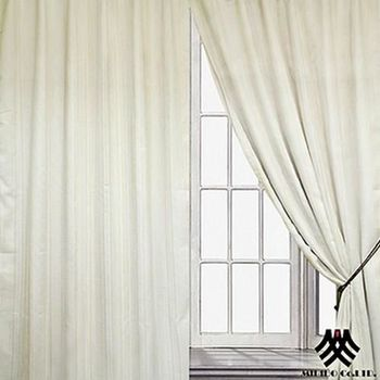 【M.B.H】莫爾條紋半腰遮光穿掛雙層窗簾(270*165cm)