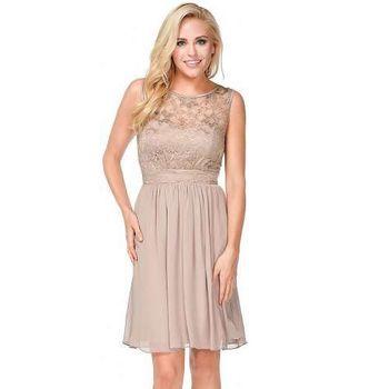 摩達客-美國進口Landmark裸色花漾蕾絲浪漫優雅派對洋裝晚宴小禮服(含禮盒/附絲巾)