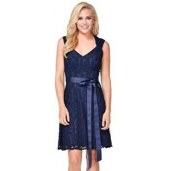摩達客-美國進口Landmark甜美V領蕾絲深藍色派對洋裝晚宴短禮服浪漫修身小禮服(含禮盒/附絲巾)