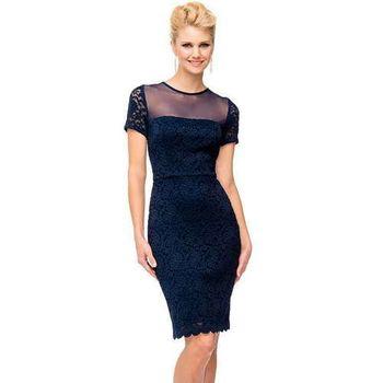 摩達客-美國進口Landmark知性典雅蕾絲短袖曲線深藍色派對洋裝晚宴短禮服(含禮盒)