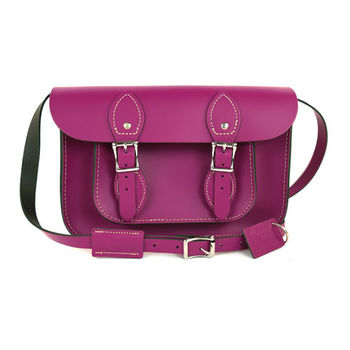 【The Leather Satchel Co.】11吋 英國手工牛皮劍橋包 (紅莓紫)